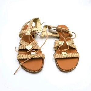 Women's Old Navy Gold Gladiator Flat Sandals,  S-8